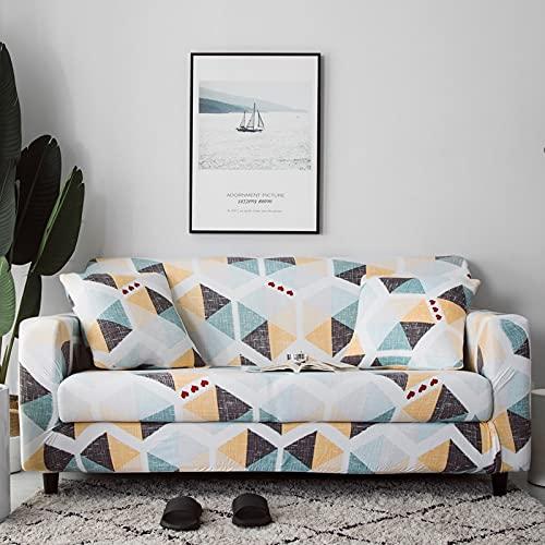 MKQB Funda de sofá con Estampado geométrico para Sala de Estar, Funda de sofá elástica elástica, Funda de sofá de Esquina seccional Envuelta firmemente NO.1 M (145-185cm