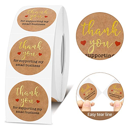 GXAO Thank You Stickers Roll 1000pcs, Kraft Paper Gold Foil 1.5 Inch Thank You Stickers,Thank You for Supporting My Small Business Stickers for Sealing, Decoration, Gifts Bags, Bubble mailers, Packing
