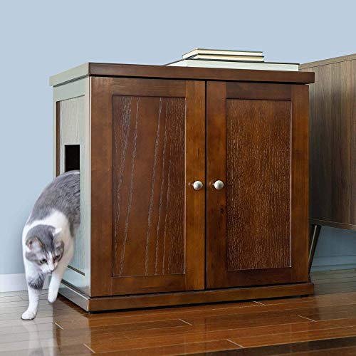 THE REFINED FELINE Cat Litter Box, X-Large Wooden Litter Box Enclosure Cabinet, Easier Clean Up Mahogany Cat Litter Box