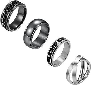 خاتم من النيْلون 4 قطع من الفولاذ المقاوم للصدأ للنساء والرجال 8 مم خواتم سبينر رائعة للزفاف وعد الفرقة خاتم مقاس 7-11