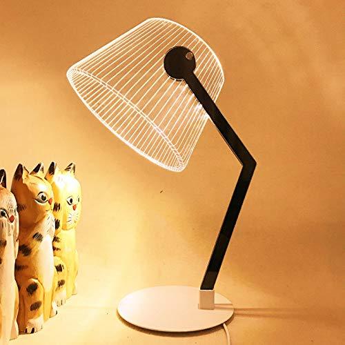 Pantalla de lámpara LED de escritorio con efecto 3D de visión estéreo, de soporte de madera, acrílico, pantalla LED, lámpara de noche, sala de estar, dormitorio, luz de lectura, soporte de madera