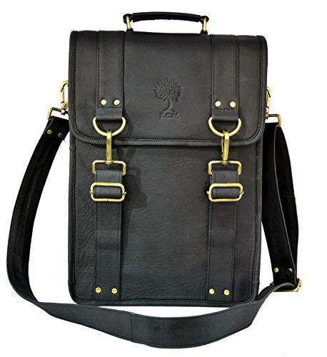 ECOCRAFTWORLD 15 Inch Sturdy Leather Ipad Messenger Satchel Vintage Retro Handmade Shoulder Tote Tablet Bag