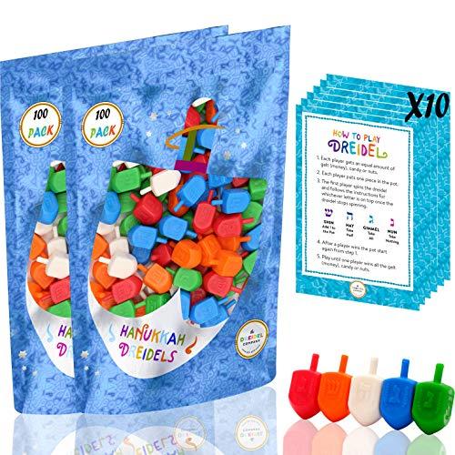 Hanukkah Dreidels 200 Bulk Pack Multi-Color Plastic Chanuka Draydels With English Transliteration - Includes 20 Dreidel Game Instruction Cards (200-Pack)