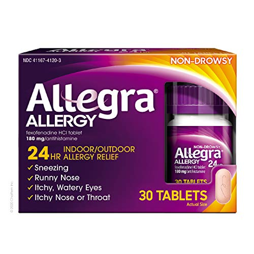 Allegra Adult 24 Hour Allergy Relief 30 Tablets, Long-Lasting Fast-Acting Antihistamine for Noticeable Relief from Indoor and Outdoor Allergy Symptoms (wd30)