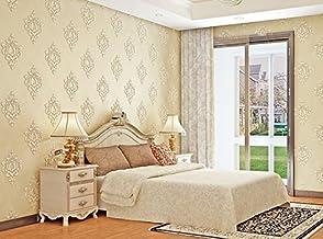 Yancen papier peint intissé _ 3d stéréo papier peint intissé de luxe européenne Fond Salon Chambre à coucher, A100405élégant Jaune