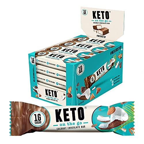 KETO On The Go Riegel   Schokolade Kokosnuss   20er Box   Nur 1g Zucker pro Riegel   Bekannt aus 2 Minuten 2 Millionen