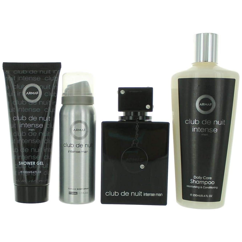 Club De Nuit Intense by àrmàf for Men Gift Set includes a 3.6 oz Eau De Toilette Spray, 3.4 oz Shower Gel, 1.7 oz Perfume Bódy Spray and 8.4 oz Shámpoo.