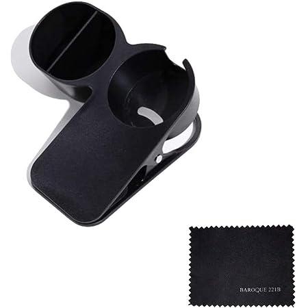 クリップ テーブル カップホルダー プラス マグカップ対応 小物入れ付き ドリンクホルダー 備品 ボトルケージ (ブラック)