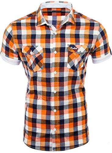 Reslad Herren Hemd Kurzarm Männer kurzärmeliges Freizeithemd Sommerhemd Figurbetont karriertes Muster RS-7065 Orange Weiß S