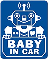 imoninn BABY in car ステッカー 【マグネットタイプ】 No.50 ロボットさん (青色)