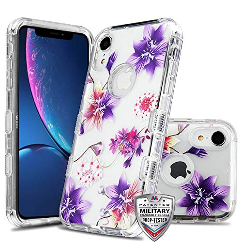 Case+Tempered_Glass+Stylus, TUFF Lucid Hybrid Protector Cover [Military-Grade Certified] Fits Apple iPhone XR/iPhone 9 MYBAT Transparent Clear/Stargazers Purple/Pink Flowers
