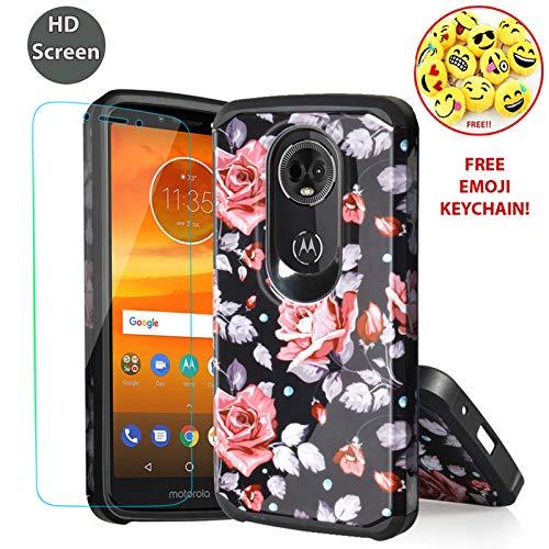 Schutzhülle für Motorola Moto E5 Plus 2018, E5 Plus Supra (XT1924), robust, stoßfest, doppellagig, Hybrid-Schutzhülle für E5 Plus, inkl. Displayschutzfolie, Lavender Roses Black
