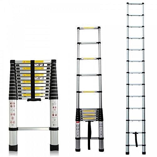 Homgrace Escaleras Telescópicas de Aluminio Plegable 3.8 M Multifuncional Robusto, Carga máxima: 150 kg, EN 131