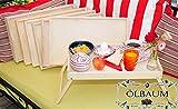 Großes Picknickset, Bretter 7 STK. massives und hochwertiges, klappbares Holztablett, Buche - SPÜLFEST '*' - Beistelltisch, Natur, Tabletttisch mit Zwei Tragegriffen, Maße viereckig, 35...