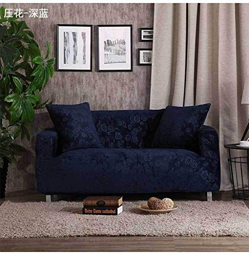 Allenger Forro de Sofá Doméstico,Stretch Pattern Sofa Cover, Seat Cover with armrests, Non-Slip Furniture Cover, Machine Washable-Dark Blue_235-300