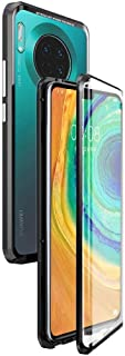 Case for Huawei Mate 30 Pro Flip Cover Magnetic Adsorption Technology Metal Bumper Frame with Transparent Tempered Glass F...