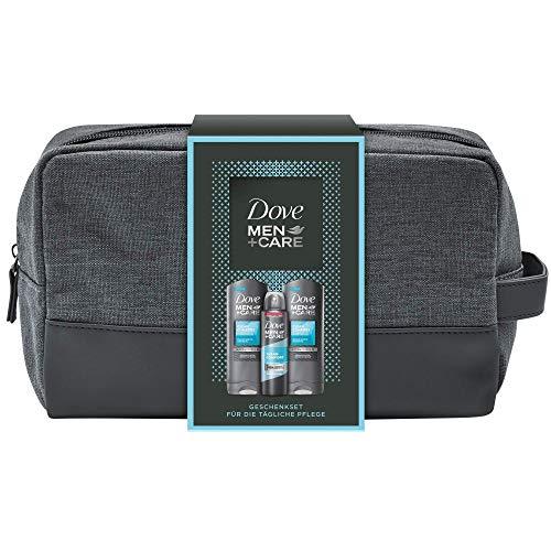 Dove Men+Care Geschenkset Clean Comfort für gepflegte Haut mit Duschgel und Deospray in einer Kulturtasche, 250ml + 150ml