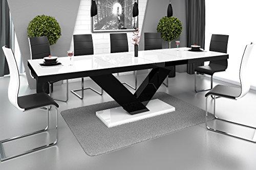 Furniture24 Design Esstisch Victoria ausziehbar 160-256 cm Hochglanz Acryl Tisch Küchentisch (Weiß Hochglanz/Schwarz/Weiß Hochglanz)