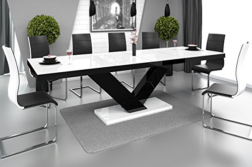 Furniture24 Esstisch Victoria Tisch Ausziehbar in Super Hochglanz Acryl (Schwarz Hochglanz/weiß Hochglanz)