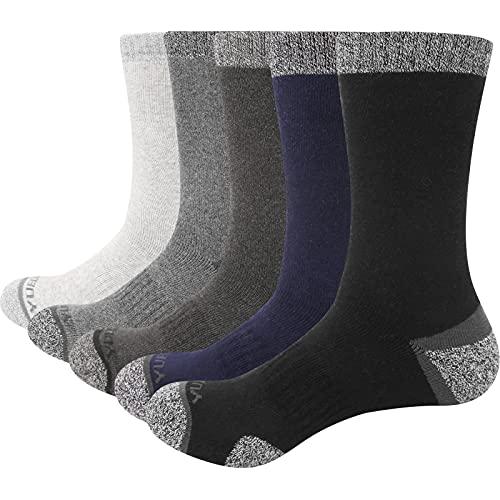 YUEDGE 5 Pairs Mens Walking Socks Cushion Crew Socks Multi Performance...