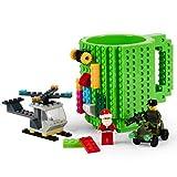 Fun Brick Mug-FUBARBAR Creative Building 12oz Coffee Cup, Build on Blocks Desk Drinkware, Funny Toy for Kid Birthday Gift, Christmas, Party, Xmas, 3Pack Blocks (Green)