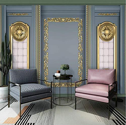 Simplicidad moderna personalizada Papel tapiz fotográfico 3D Mural de talla dorada europea dormitorio sala de estar sofá TV Fondo mural de pared Decoración hogareña
