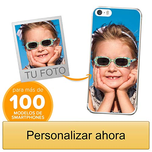 Funda Personalizada para Apple iPhone 5 / 5s / SE con tu Foto, Imagen o Escritura - Estuche Suave de Gel TPU Transparente - Impresión