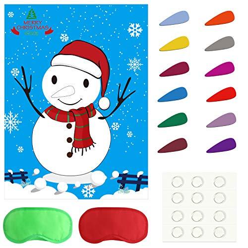FEPITO Pin The Nose auf dem Schneemann Holiday Weihnachten Party Games mit 24 Nasen und Augenbinde für Weihnachten Party Supplies, Kids New Year Xmas Gifts