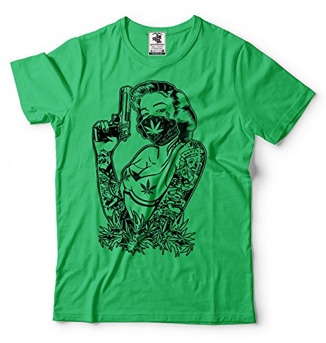 Silk Road Tees La Marihuana Camiseta de los Hombres de Cannabis Camiseta Divertida Monroe Camiseta 420 Camiseta Ganja