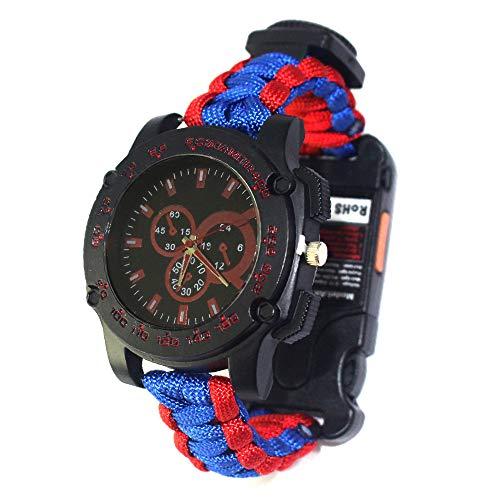 XHLLX Bracelets De Survie, Corde De Parapluie à Sept Noyaux Thermomètre Sifflet De Survie Regarder Lampe De Poche Être Applicable Sport Extrême Aventure Alpinisme Équitation,Blue