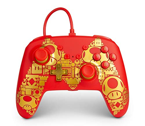 PowerA Enhanced Wired Controller for Nintendo Switch - Mario Golden M - Red