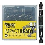 41 x Juego de brocas SabreCut SCPA25_41 25mm PZ2 para destornillador de impacto con una sola punta Pozidriv POZI nº 2, de alta resistencia. Incluye soporte de brocas y caja de almacenamiento.