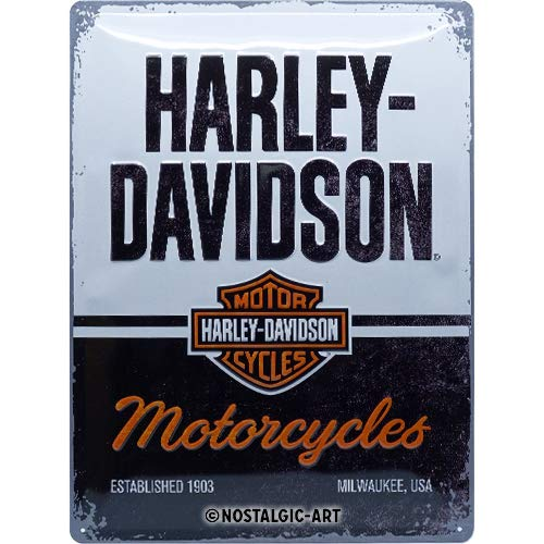 Nostalgic-Art Harley-Davidson – Motorcycles – Geschenk-Idee für Motorrad-Fans, Retro Blechschild, aus Metall, Vintage-Dekoration, 30 x 40 cm