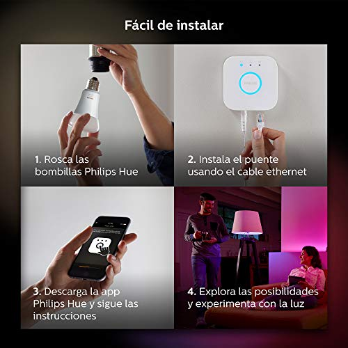 Philips Hue White and Color Ambiance - Bombilla LED E27 individual, 9,5 W, iluminación inteligente, 16 millones de colores (compatible con Amazon Alexa, Apple HomeKit y Google Assistant)