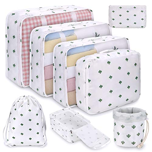 DIMJ 8 PCS Packing Cubes for Suitcase, Travel Luggage Organiser Set Travel Essentials Bag Clothes Shoes Cosmetics Toiletries Cable Storage Bags (White)