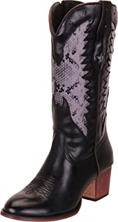 Cambridge Select Women's Round Toe Faux Snakeskin Star Cutout Block Heel Western Cowboy Boot