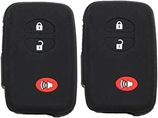 Pack of 2 Black Silicone Rubber Remote Key Cover Holder Key Fob Skin Cover for Toyota 4runner Venza Avalon Land Cruiser Camry