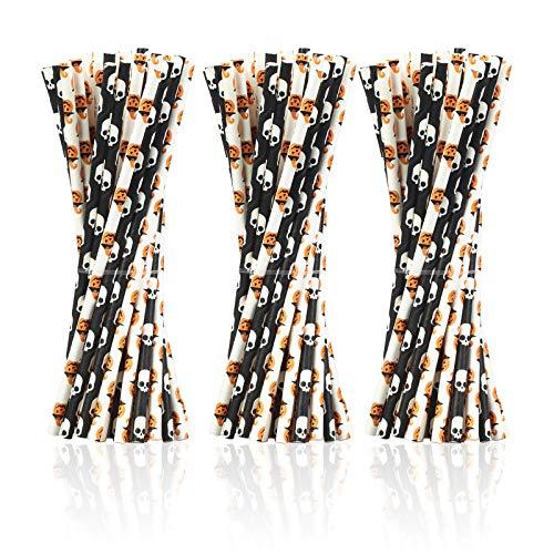 AirSMall 200STK Halloween Deko Strohhalme Schwarz Weiß Papierstrohhalme Skull Trinkhalme Papierhalme Biologisch Abbaubare Papier Halme für Kostümparty Karneval Party Cocktail Feier(2 Stile)
