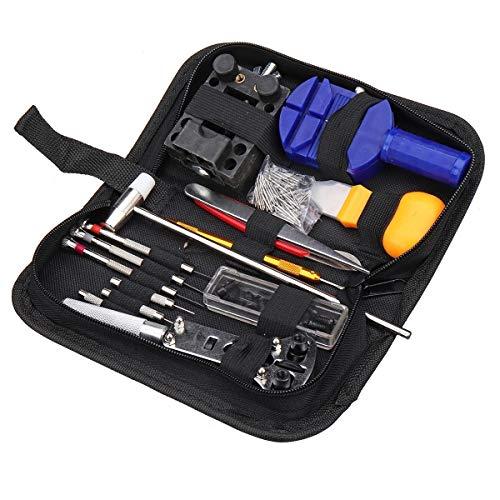 Conjunto de reparaciones profesionales Abrelatas del caso Enlace primavera removedor de la barra de herramientas del relojero 147Pcs reloj Kit de herramientas de reparación