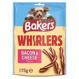 Bakers Whirlers Dog Treats Bacon and Cheese 175g – Case of 6 (1.05kg)
