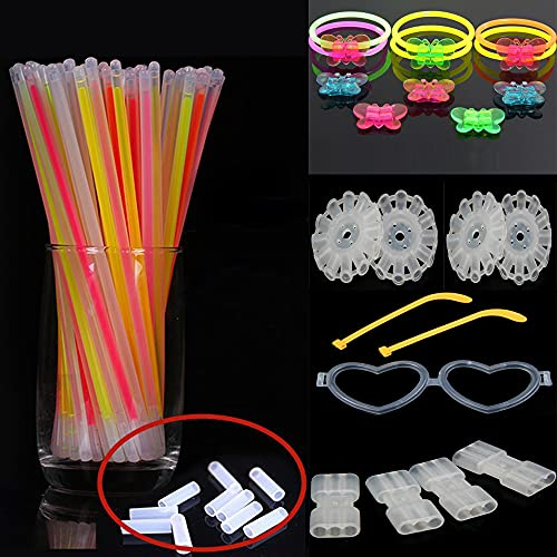 Amin 100 Varillas Fluorescentes, 50 Conectores | Pulseras De Varillas Fluorescentes Multicolor | Pulseras De Mariposa, Gafas, Bolas De Flores