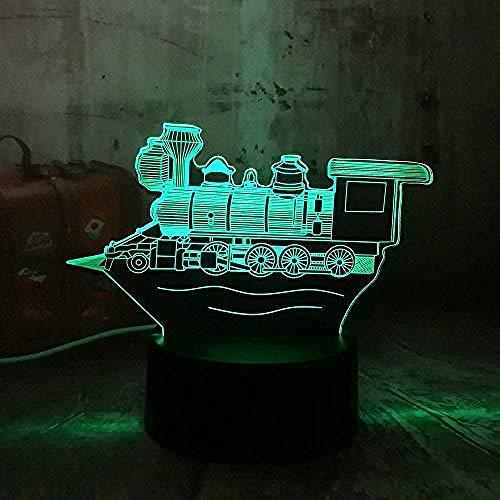 Diaporama 3D-strips, locomotief, LED, nachtlampje, 3D-licht, tafellamp, bureau, geschenk, bluetooth, 5 kleuren, kerstcadeau, sfeerlicht, 7 kleuren (Crack