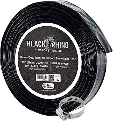 US Pool Supply Black Rhino 11/2quot x 100#039 Pool Backwash Hose with Hose Clamp  Extra Heavy Duty Superior Strength Thick 12mm 47mils  Weather Burst Resistant  Drain Clean Swimming Pools Filters