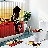 Cortina de Ducha para niñas africanas, Antiguo Egipto, Alfombra de Franela con Base Antideslizante para Mujeres, Juego de baño, Alfombra de baño, Textiles para el hogar