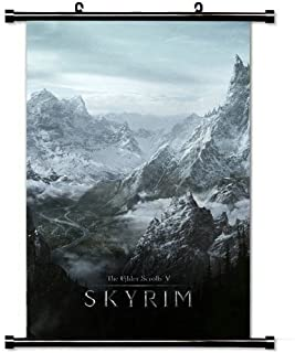 Gaming Wall Posters,Skyrim World Rocks Winter Cold The Elder Scrolls V Skyrim Home Decor Wall Scroll Poster Fabric Painting 23.6 X 35.4 Inch (60cm X 90 cm)