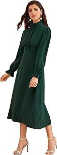 فستان اخضر سادة باكمام مكشكشة
