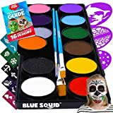 Blue Squid Face Paint Kit for Kids – 12 Color Palette, 30+3 Stencils, Washable Paints, Brushes Guide, Safe Facepainting for Sensitive Skin, Professional Quality Body & Face Facepaints Halloween Makeup