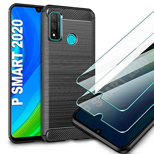 AROYI Funda Huawei P Smart 2020, [2 Pack] Cristal Templado, Carcasa Silicona Fibra de Carbono TPU Alta Resistente y Flexibilidad Fundas Cover Caso para Huawei P Smart 2020-Negro