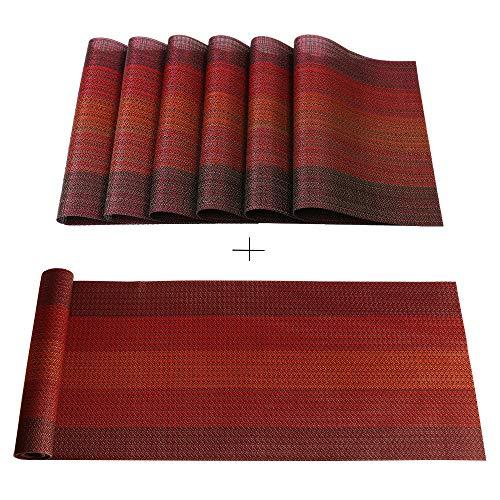 Famibay PVC Tischsets 6er Set und Tischläufer 180cm Rot Platzset Abwaschbar Plastik Platzdeckchen