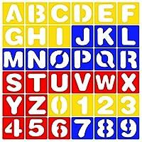 heizi ステンシルシート 10cm×10cm アルファベット 数字 テンプレート A-Z 0-9 セット キャンバス 画材 (アルファベット 数字 36枚セット)